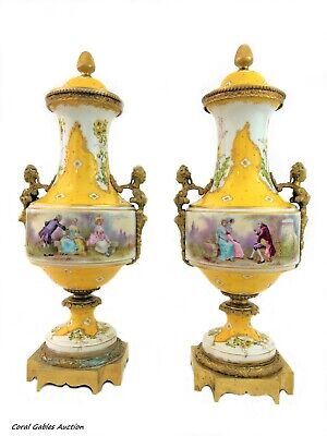 Antique pair of yellow sevres of the 19th century