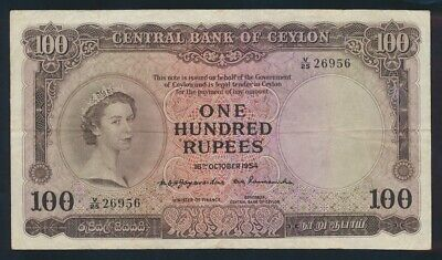 "Ceylon: 16-10-1954 100 Rupees ""RARE QEII PORTRAIT ISSUE"". Pick 53 NVF"