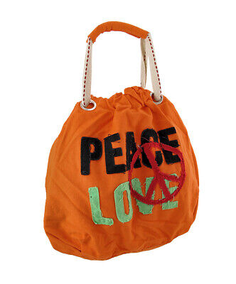 Zeckos Neon Peace and Love Canvas Tote Bag