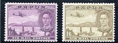Papua 1939-41 Air mails SG 167-68  Cat £44 mint. See also scan of reverse. £14