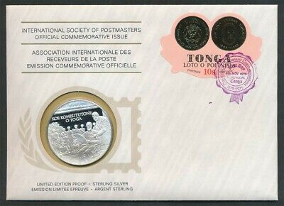 Tonga: 1975 Constitution Large Silver Medal (20g) & First Day Cover PNC