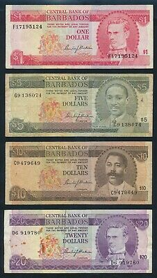 """Barbados: 1973-75 $1 to $20 """"SET OF 4 NOTES"""". Pick 29a-34a F to NVF - Cat VF $91"""