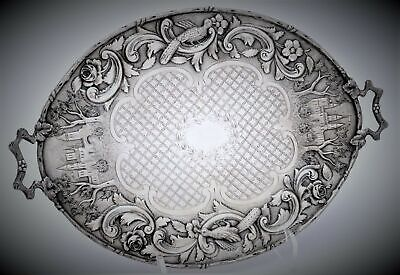 The Loring Andrews Repousse Castle Landscape Sterling Silver  Tray