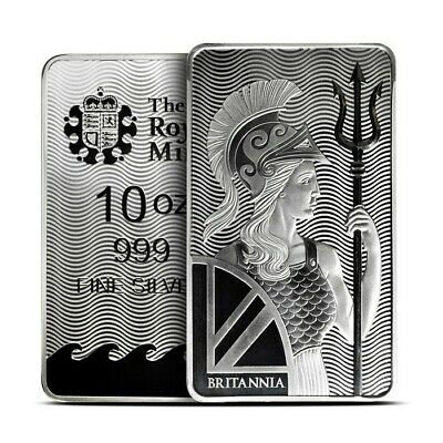 10 oz .9999 Fine & Pure Silver Britannia Bar | The Royal Mint