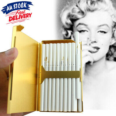 Elegant Box Holder S6 Cigarette Case Gold Aluminum 20 Slim Thin Wiredrawing