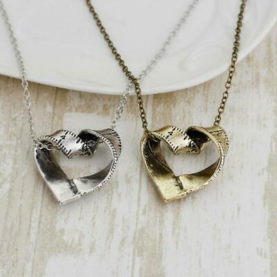 Women Rotated Heart Tape Measure Pendant Jewelry Necklace Sweater Chain CZ
