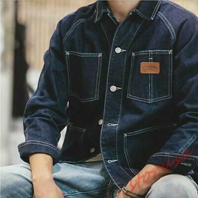 Mens Vintage Loose Fit Denim Jacket Casual Outdoor Overalls Work Jeans Coat Fall