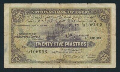 "Egypt: 6-6-1940 Sig Cook ""RARE DATE & SIG"" Pick 10b VG-F - Cat VF $1066, VG $267"