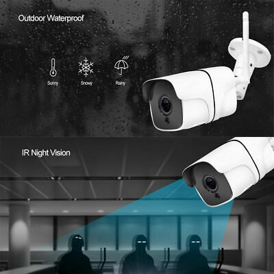 Wireless Outdoor IP Network Camera 1080P WiFi Night Vision CCTV  Security IR Cam