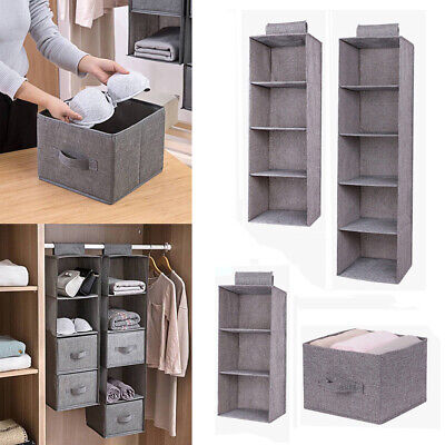 Hanging Wardrobe Storage Organiser Shelf Clothes Canvas Bag Box Tidy Hanger Kid