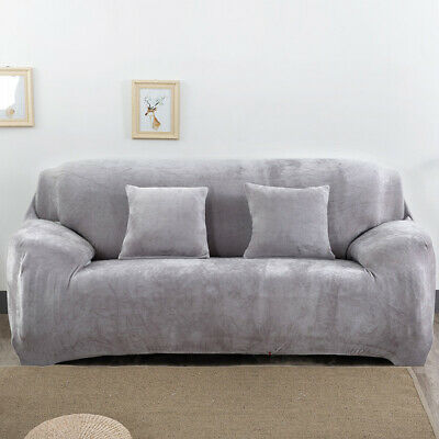 Easy Fit 1/2/3/4 Seater Thick Plush Velvet Couch Stretch Sofa Cover Slipcover