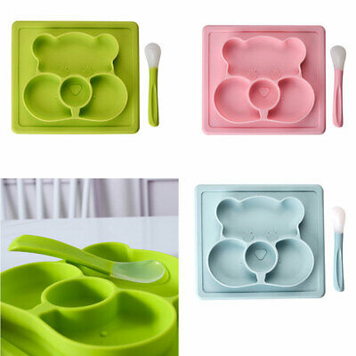 Baby Plate Silicone Dishes Feeding Mat Placemat with Spoon Strong Suction Tray