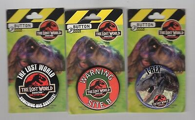 Jurassic Park The Lost World Vintage Button Set of 3