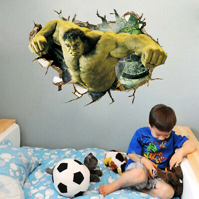 The Hulk Avenger Wall Sticker 3d Super Hero Kids Room Cartoon Wall Decal Vinyl