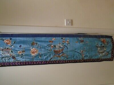 Chinese Embroidered Silk Panel Embroidery measures     cms      by     cms
