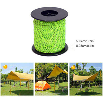 2.5/4/5MM Reflective Camping Tarp Tent Rope Runners Guy Line Cord Paracord 50M