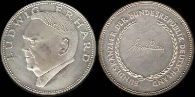 Germany: Chancellors of Germany Ludwig Erhard stg silver medal 14.0g