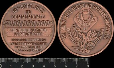 Australia 1986 Mount Lyell, 100,000,000th tonne of ore mined, medal