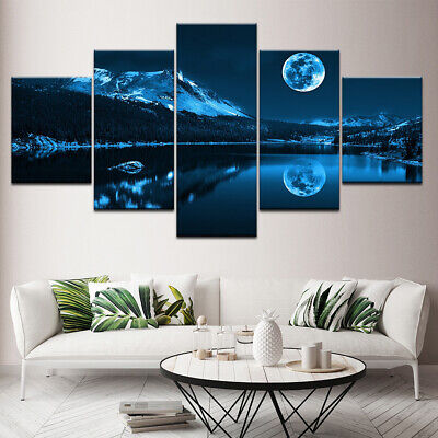 Abstract Blue Moon Night Scene 5 panel canvas Wall Art Home Decor Print Poster