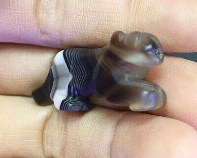 Ancient PYU Agate Leaping Tiger Original Old PYU Animal Stone Carved Bead