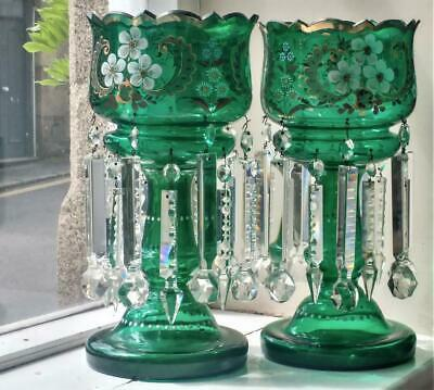 Beautiful Pair of Large Antique Emerald Green Glass Double Tier Mantle Lustres