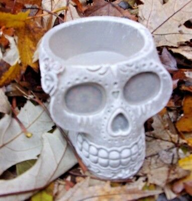 """Latex skull candle holder mold Day of Dead mould 2""""H x 2""""W x 3""""L"""
