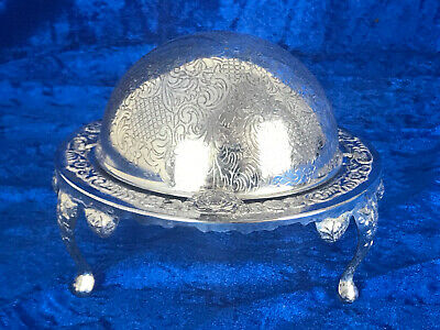 Beautiful Vintage/ Antique Silver Plated - Roll Top Caviar / Butter Dish