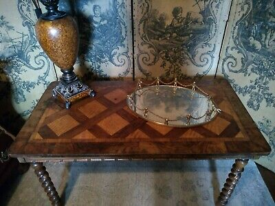 Antique Inlaid Table - Barley Twist Legs