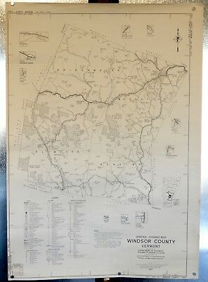 """Vermont Highway Map - Windsor County - Deptartment Of Transportation - 18 X 27 """""""