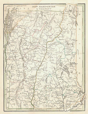 1835 Engraved Map of VERMONT/NEW HAMPSHIRE (Bradford's Comprehensive Atlas)