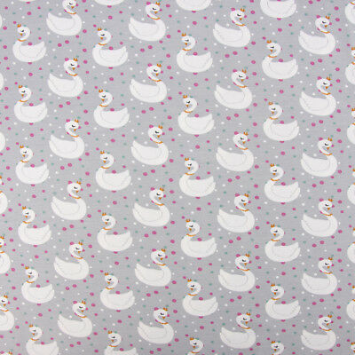 Cotton Jersey Jersey Swans Points Grey White Pink Petrol 1,65m Width