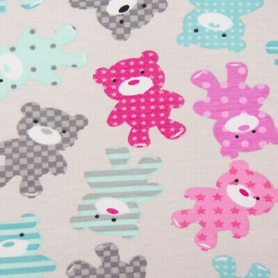 Cotton Jersey Jersey Bear Teddy Bear Gray Turquoise Pink 1,65m Width