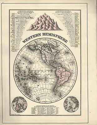 2 Vintage Maps: Eastern & Western Hemispheres + Length Of Rivers + Mt Heights