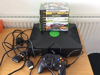 Microsoft Original Xbox Black Games Console with One Controller And Games....