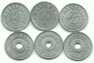 A Very Nice Vintage Lot Of 6 Kansas One And Two Sales Tax Tokens-Jul452