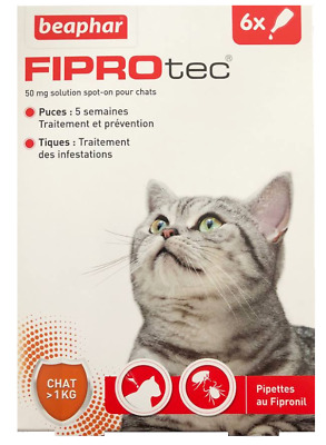 Beaphar Fiprotec Cat Fleas Ticks Spot On Fipronil 6 Pipettes Treatment Solution