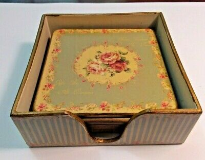 Boxed Set of 6 Shabby Chic Floral Coasters - Lovely