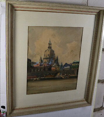 Wilhelm Battermann 73x63cm Aquarelle Antique Dresde Frauenkirche Elbe Aquarelle