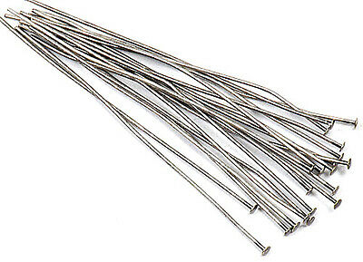 """(20) Antique Silver Plated 2"""" Flat Top Head Pins 24 Gauge Wire Bending Beading"""