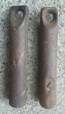 Pair (2) ANTIQUE Vintage CAST IRON Window Sash Weight Weights 4 lb. Each
