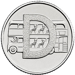 (CIRCULATED) A-Z (2019) ALPHABET 10p - LETTER (D) - DOUBLE DECKER