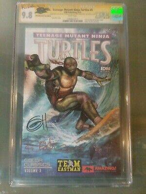 TMNT Hawaii variant signed by Greg Horn and Kevin Eastman and sketch on back.
