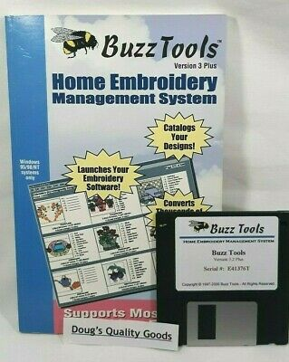 """Buzz Tools Home Embroidery Management System *Version 3 Plus 3.5"""" Diskette"""