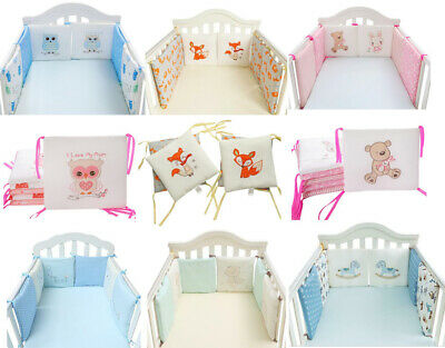 UK Baby Infant Bed Bedding Crib Bumper Cot Safety Protector Cushion Nursery 6Pcs