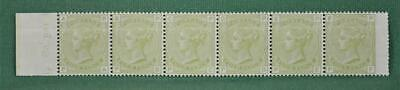 GB STAMPS VICTORIA 1877 4d SAGE GREEN SG 153 PLATE 16 STRIP OF 6 H/MINT  (R50)