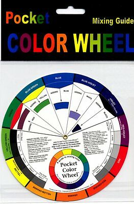 ARTIST OIL ACRYLIC POCKET COLOUR WHEEL PAINT MIXING GUIDE PAINTING ART smll
