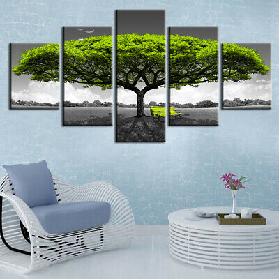 Romantic Green Tree Landscape 5 panel canvas Wall Art Home Decor Poster Print