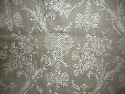 Antique French Linen Cotton Stylized Floral Pearls Ticking Damask Fabric ~ Gray