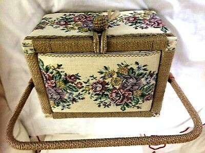 Vintage Large Beautiful Tapestry Sewing Box With Contents