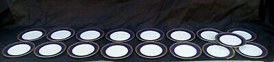 Set 17 Luncheon Plates in Gold Buffet, Cobalt Blue Pattern by Royal Gallery,1991